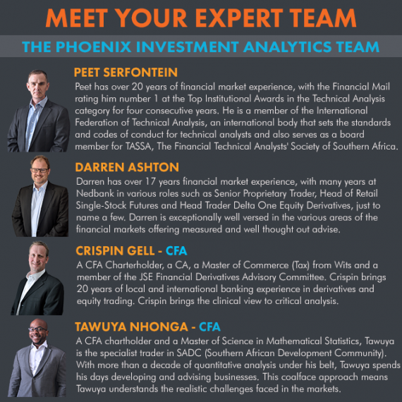 Phoenix investment analytics. Financial market experts. Team - Peet Serfontein, Darren